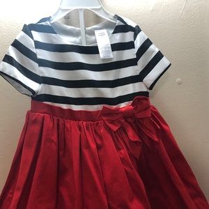 Striped and red formal dress